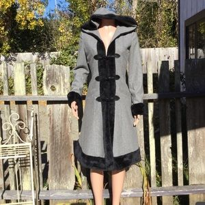 Chicstar Wool Corset Coat With Faux Fur Trim